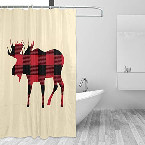 Warm-Tone Art Buffalo Plaid Moose Lumberjack Red Black Shower Curtain Stylish and Individual Bathroom Curtain Decoration with Hooks - 55x72 Inches -