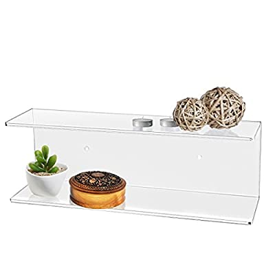MyGift 2-Tier Clear Wall-Mounted Acrylic Display Shelves/Kitchen & Bathroom Wall Shelf - The modern efficiency and clear acrylic class of this shelf brings stylish organization to any wall space in your home. Features dual tiers making this functional shelf easy to display your favorite things. Makes for a perfect organizer set for cosmetics in bathrooms, spices in kitchens, and decorations in bedrooms. - wall-shelves, living-room-furniture, living-room - 41%2BFEUfuvAL. SS400  -
