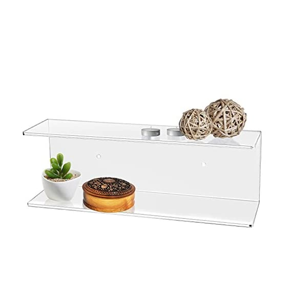 MyGift 2-Tier Clear Wall-Mounted Acrylic Display Shelves/Kitchen & Bathroom Wall Shelf - The modern efficiency and clear acrylic class of this shelf brings stylish organization to any wall space in your home. Features dual tiers making this functional shelf easy to display your favorite things. Makes for a perfect organizer set for cosmetics in bathrooms, spices in kitchens, and decorations in bedrooms. - wall-shelves, living-room-furniture, living-room - 41%2BFEUfuvAL. SS570  -