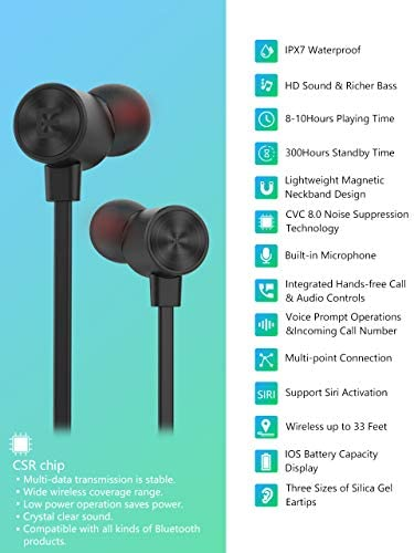 EVIO Bluetooth Headphones, Best Sports Wireless Bluetooth 5.0 Hi-Fi Stereo Deep Bass Earbuds, IPX7 Waterproof 10 Hrs Playing Time Headsets, CVC 8.0 Neckband Magnetic in-Ear Earphone w Mic Black