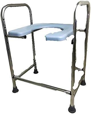 MMPY Einstellbare Toilettenstuhl, Heightened Edelstahl, U-förmigen Squat Stuhl mit Armlehnen, Badezimmer for Schwangere Frauen, Ältere