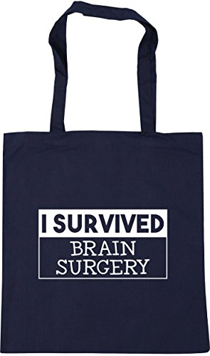 HippoWarehouse I survived brain surgery Tote Shopping Gym Beach Bag 42cm x38cm, 10 litres French Navy