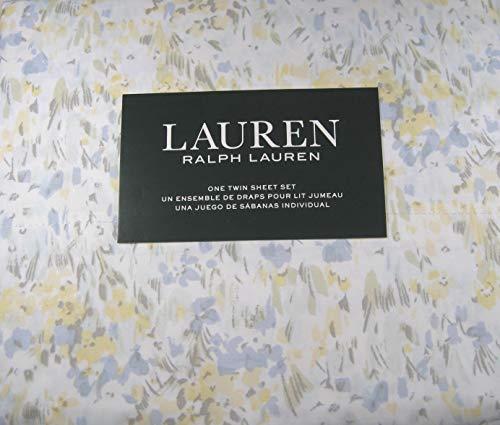 Lauren 3 Piece Twin Size Pastel Watercolor Abstract Floral Sheet Set 100% Cotton Multi Color