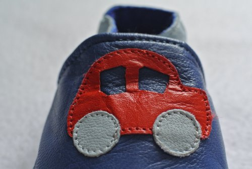 Soft leather baby shoes cars
