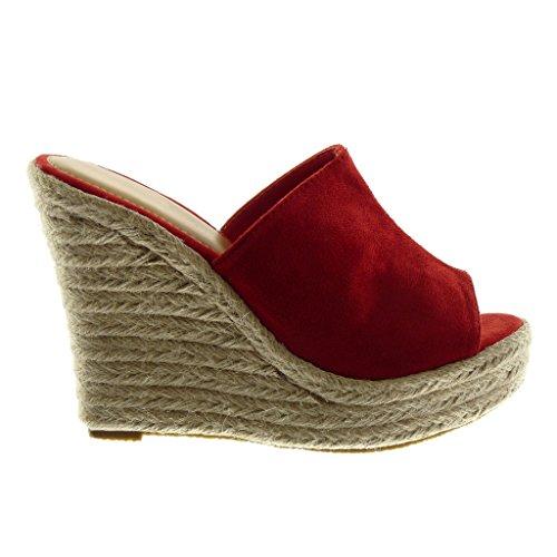 Angkorly Damen Schuhe Mule Sandalen - Slip-on - Plateauschuhe - Seil - Geflochten Keilabsatz High Heel 12 cm Rot