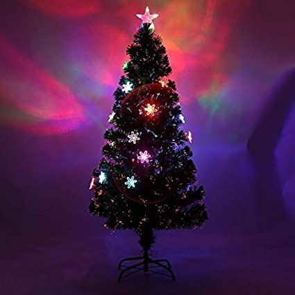 Simoner Classic Green Optic Fibre Christmas Tree, Snowflakes Four LED  Changing Color Lights Tall Xmas - Amazon.com: Simoner Classic Green Optic Fibre Christmas Tree