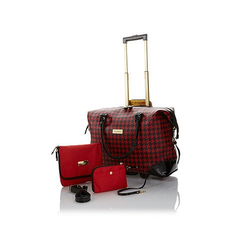 Samantha Brown Get-A-Way Rolling Bag 3pc Set - BLACK/RED HOUNDSTOOTH