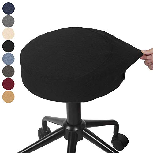 """BUYUE Bar Stool Covers Round Washable Jacquard Chair Seat Slipcover for Dia.12-14"""", 1 Piece, Black"""