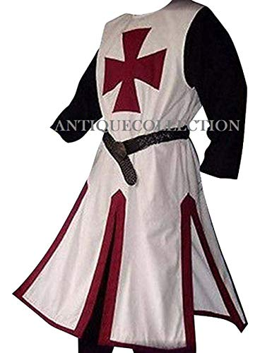 Medieval Crusader Templar Knight Warrior Tunic Robe Halloween Costume - Large (Burgundy)