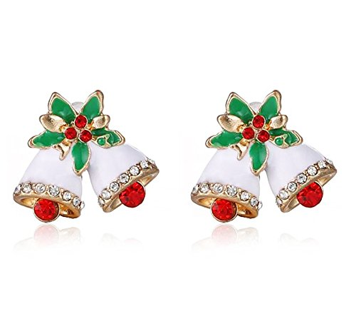 Pierced Bell - HIYOU-HOME Unique Merry Christmas Pierced Stud Earrings 1 Pair (Christmas bells)
