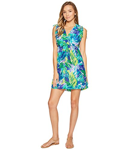 LAUREN Ralph Lauren Women's Lush Tropical Farrah Dress Cover-Up Blue Swimsuit - Lauren Womens Ralph Outlet