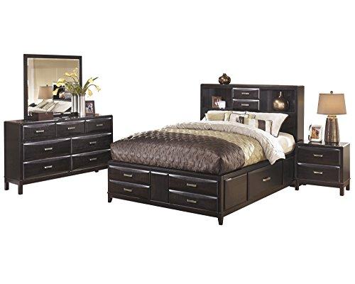 Ashley Kira 4PC Bedroom Set Queen Storage Bed Dresser Mirror  sc 1 st  Furniture.com & Mirrored Nightstands u0026 Bedside Tables