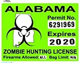 Alabama AL Zombie Hunting License Permit Green - Biohazard Response Team - Window Bumper Locker Sticker