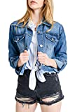 Style One Women's Distressed Cropped Denim Jackets 8682 Blue M Larger Image