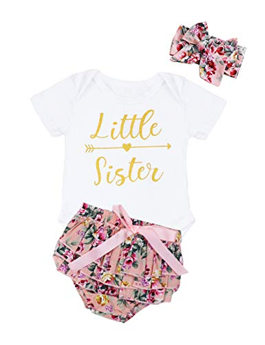 3PCS Newborn Baby Girl Romper Jumpsuit Bodysuit +Floral Shorts+Headband Outfit Set 12-18 Months White
