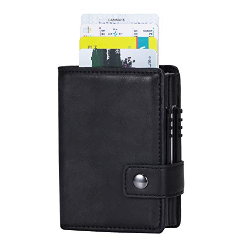 IBFUN RFID Pop up Credit Card Wallet with Banknote Storage PU Leather Vintage credit card Holder for Men or Women Up to Hold 14 Cards,Additional Pockets for Cash