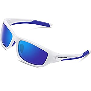 Torege Polarized Sports Sunglasses For Cycling Running Fishing Golf TR90 Unbreakable Frame TR011 (White&Blue)