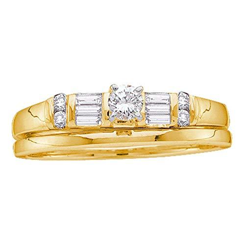 FB Jewels 10K Yellow Gold Womens Round Diamond Bridal Wedding Engagement Ring Band Set 1/3 Cttw Size 7