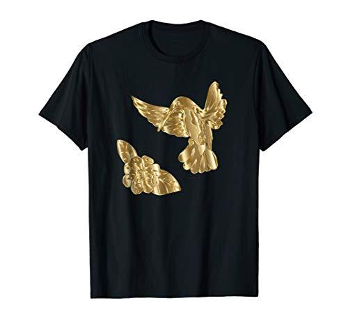 Feeder Hummingbird Gold (Golden Hummingbird and Flower Tee Shirt)