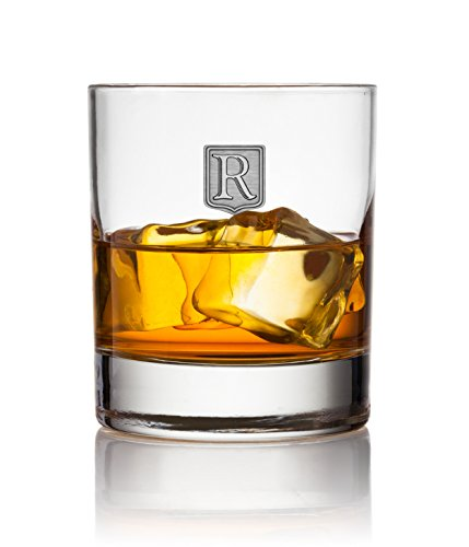 Crested Classic Whiskey Glass 2pk - Letter (R)