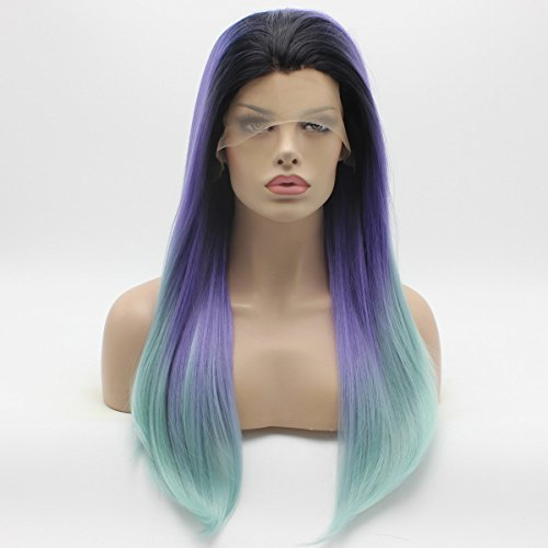 dark blue and light blue wig - 7