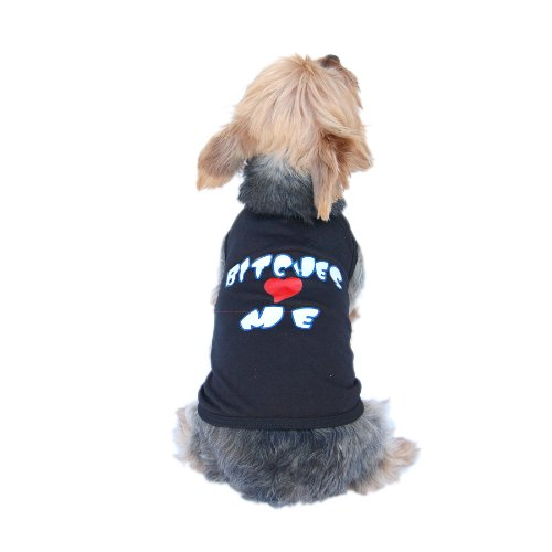 Anima Poly Cotton Blend Black Tank Top, Bitches Love Me Print, X-Small, My Pet Supplies