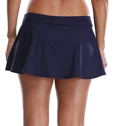 KKompany Plain Skirt with Inner Bikini Brief Elasticated Waistband Summer Beach Skirtini Ladies Plain Short Sarong