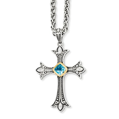 Blue Topaz Designer Cross (ICE CARATS 925 Sterling Silver 14k Diamond Blue Topaz Chain Necklace Cross Crucifix Fine Jewelry Ideal Mothers Day Gifts For Mom Women Gift Set From Heart)