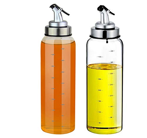 (2 Pack) Olive Oil Dispenser Bottle,17 Ounce Oil Cruet Glass,No Drip,Oil and Vinegar Dispenser Set, Lead-Free Glass Bottle for Oil Kitchen with Degree Scale