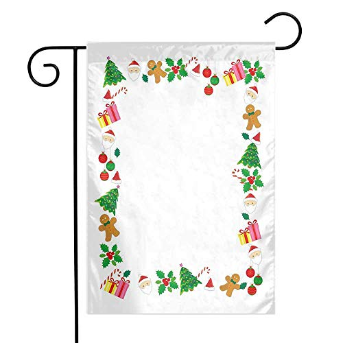 Mannwarehouse Kids Christmas Garden Flag Colorful Border with Different Clip Arts Holiday Festivity Santa Trees Balls Premium Material W12 x L18 Multicolor]()