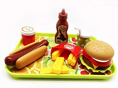 GiftExpress Burger & Hot Dog Fast Food Cooking Play Set for Kids with Hamburger, Fries, Hot Dog, Coke, Ketchup, Milk, Sauce and Tray (Best Way To Bbq Hot Dogs)