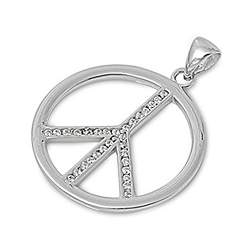 Peace Sign Pendant Clear Simulated CZ .925 Sterling Silver Charm - Silver Jewelry Accessories Key Chain Bracelet Necklace Pendants
