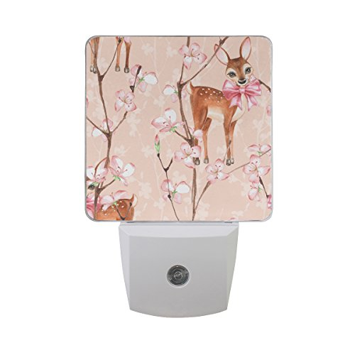 - Plug-in Night Light, Cherry Blossom and Fawns LED Nightlight, Dusk-to-Dawn Sensor for Bedroom Bathroom Kitchen Hallway Living Room