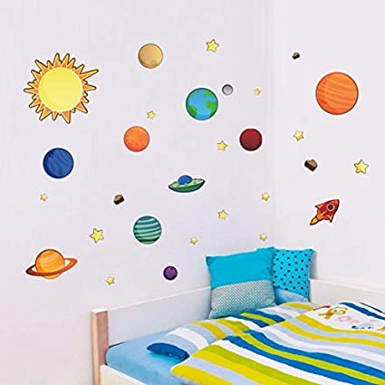 World Beautys Cartoon Space Universe Wall Stickers Decor Kids Room Bedroom Nursery Stars Decals DIY