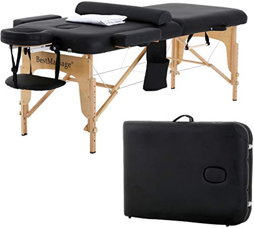 Massage Table Massage Bed Spa Bed Height Adjustable Portable Massage Table 73 L 28 W 2 Fold with Free Head Rest and Carry Case and Half Bolster Table Sheet