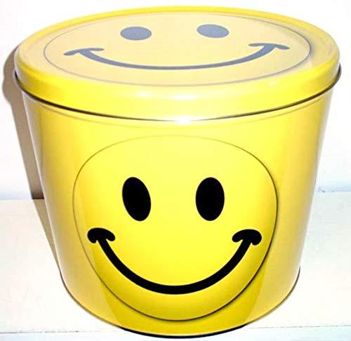 2 Gallon Happy Face Popcorn Tin with Gourmet Popcorn Damn Good Popcorn (Cheddar Cheese)