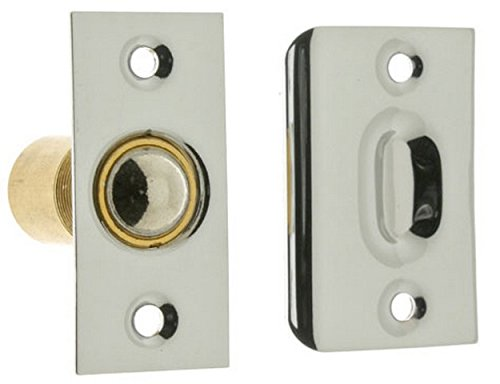 Chrome Brass Roller Latch - Solid Brass Square Corner Ball Catch With Wide Strike In Polished Chrome. Antique Door Latches.