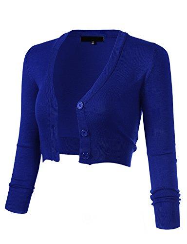 ARC Studio Women's Solid Button Down 3/4 Sleeve Cropped Bolero Cardigans M RoyalBlue CO129