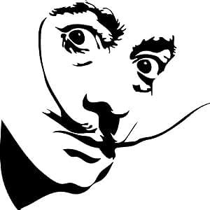 Salvador Dali Wall Sticker Decal - Silhouette Decoration - 12 in. Black