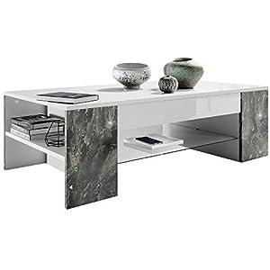 Vladon Table de Salon Table Basse Clip en Blanc avec des Bordures en Marbre Graphite