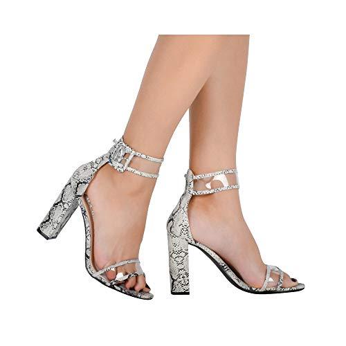 (ZHEYU Woman Sandals Gold Metallic Clear Strap High Heels Transparent Shoes Women Pump)