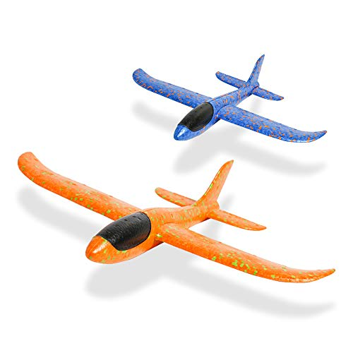 USATDD 2 Pcs Foam Airplane Aircraft Model Hand Launch Glider Plane Soft Throw Airplanes Outdoor Sports Toys for 3 4 5 6 7+ Year Old Boys Girls