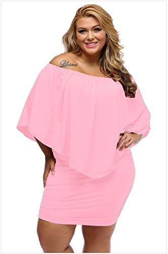 BYY Multiple Dressing Layered Blue Mini Dress(Pink,S)