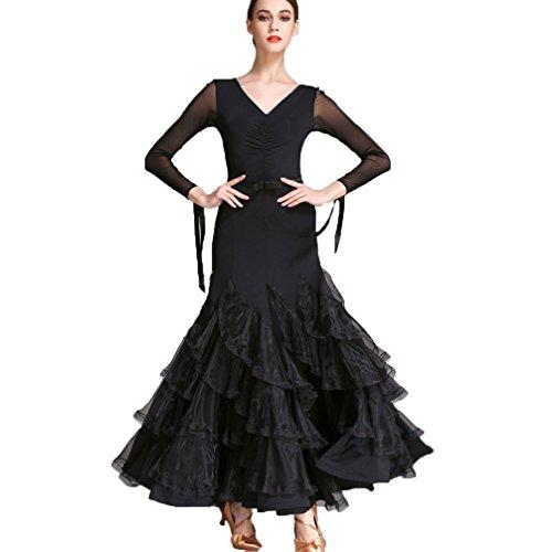Valse Manches Nationales Salon En Performance Robes concours Danse De Standards Wqwlf m Maille Pour Moderne Costume Femmes Black Dancewear q6OpwSI