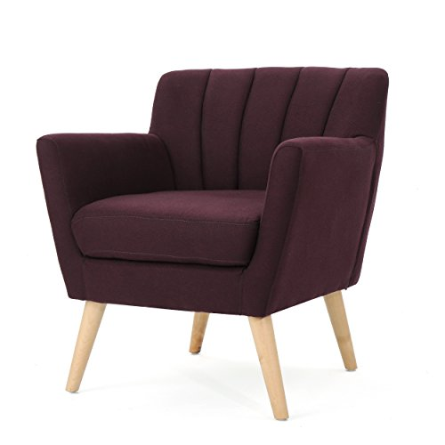 Madelyn Mid Century Modern Fabric Club Chair (Plum)