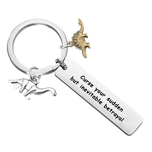 bobauna Curse Your Sudden But Inevitable Betrayal Firefly Inspired Keychain with Dinosaur Charm Travel Dinosaur Lover Gift (Inevitable Betrayal dinsour Keychain)