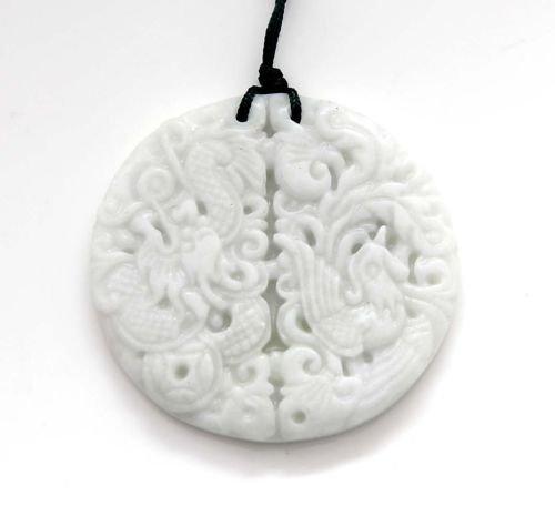 Gozebra(TM) White Jade Dragon Phoenix Amulet Pendant Happy Lucky Jewelry