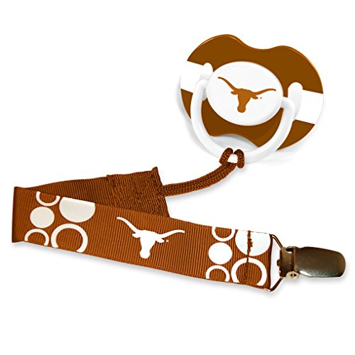 NCAA Team Logo Baby Infant Pacifier with Clip Set - Pick Team! (Texas Longhorns) (Gear Texas Baby Longhorns)