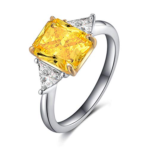 Erllo Rhodium Plated Sterling Silver Square Cut Yellow Cubic Zirconia CZ 3-Stone Engagement Ring (10)