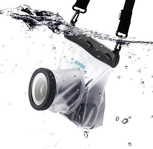 Zonman DSLR Camera Univeral Waterproof Underwater Housing Case Pouch Bag for Canon Nikon Sony Pentax Brand Digital SLR Cameras (Transparent) (Renewed)